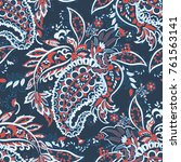 floral seamless pattern with... | Shutterstock .eps vector #761563141