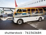 luggage on conveyor belt being... | Shutterstock . vector #761563684