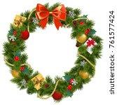 vector christmas wreath with... | Shutterstock .eps vector #761577424