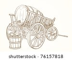Vintage Cart With A Barrel Of...