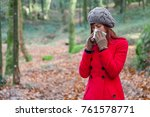 young woman suffering from cold ... | Shutterstock . vector #761578771