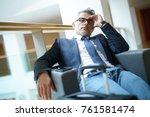 businessman taking a nap in... | Shutterstock . vector #761581474