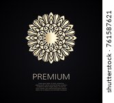 golden flower shape. gradient... | Shutterstock .eps vector #761587621