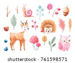 cute watercolor illustrations ... | Shutterstock . vector #761598571