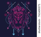the lion in sacred geometric... | Shutterstock .eps vector #761600371