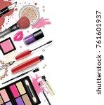 cosmetics set  hand drawn style ... | Shutterstock .eps vector #761601937