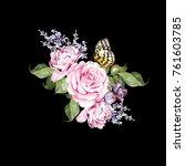 watercolor  wedding bouquet...   Shutterstock . vector #761603785