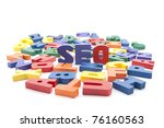 The word seo written with colorful wooden letters - stock photo