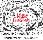 merry christmas modern... | Shutterstock .eps vector #761606371