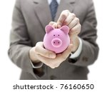 businessman putting coin into... | Shutterstock . vector #76160650