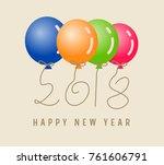 happy new year 2018. | Shutterstock . vector #761606791