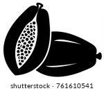 papaya icon sign  silhouette ... | Shutterstock .eps vector #761610541
