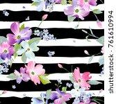 spring flowers seamless pattern....   Shutterstock .eps vector #761610994
