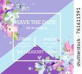 wedding invitation template... | Shutterstock .eps vector #761611591