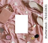 feminine fashion layout top... | Shutterstock . vector #761613631