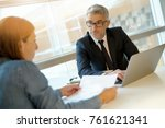 woman in banker's office... | Shutterstock . vector #761621341