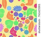 autumn theme  leaves  scribbles ... | Shutterstock .eps vector #761625301