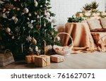 christmas tree and presents in... | Shutterstock . vector #761627071