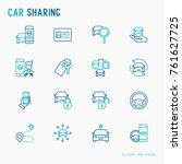 car sharing thin line icons set ... | Shutterstock .eps vector #761627725