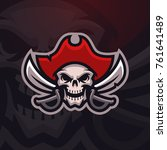 pirate skull mascot logo. sport ... | Shutterstock .eps vector #761641489