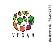 vegan sign. hand drawn vector... | Shutterstock .eps vector #761643874