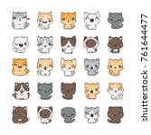 cute cartoon cats and dogs with ... | Shutterstock . vector #761644477