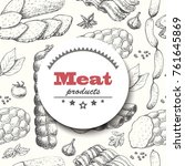 vector background with meat... | Shutterstock .eps vector #761645869