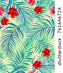 seamless hand drawn tropical... | Shutterstock .eps vector #761646724