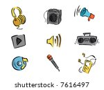 Music and Sound Icons - Vector - stock vector