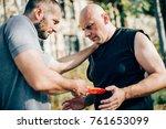 knife threat. kapap instructor... | Shutterstock . vector #761653099