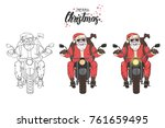 vector santa claus ride the... | Shutterstock .eps vector #761659495