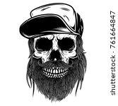 bearded skull in baseball cap.... | Shutterstock .eps vector #761664847