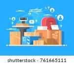 mail service. sending letters... | Shutterstock .eps vector #761665111