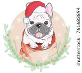 portrait of cute french bulldog ... | Shutterstock . vector #761683894