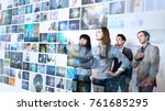 group of people watching at a... | Shutterstock . vector #761685295