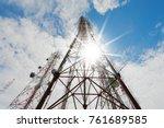 telecommunication towers... | Shutterstock . vector #761689585