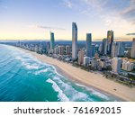 an aerial view of surfers... | Shutterstock . vector #761692015