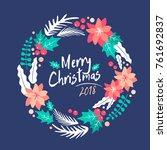 christmas wreath.  merry... | Shutterstock .eps vector #761692837