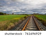 single railway track in rana ... | Shutterstock . vector #761696929