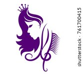 face of a girl with a crown and ... | Shutterstock .eps vector #761700415
