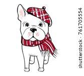 cute vector dog in winter... | Shutterstock .eps vector #761705554