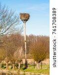 man made stork's nest with a... | Shutterstock . vector #761708389
