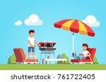 husband doing barbecue grilling ... | Shutterstock .eps vector #761722405