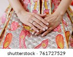 close up of bride's hand with... | Shutterstock . vector #761727529