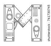 mechanical letter m engraving...   Shutterstock .eps vector #761730745