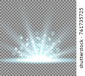 rays of light with sparks ... | Shutterstock .eps vector #761735725