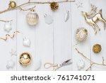 christmas  new year white...   Shutterstock . vector #761741071