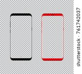 black and red phone with blank... | Shutterstock .eps vector #761742037