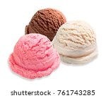 Stock photo vanilla strawberry and chocolate ice cream scoops isolated on white background 761743285
