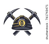 bitcoin mining logo with hard... | Shutterstock .eps vector #761743471